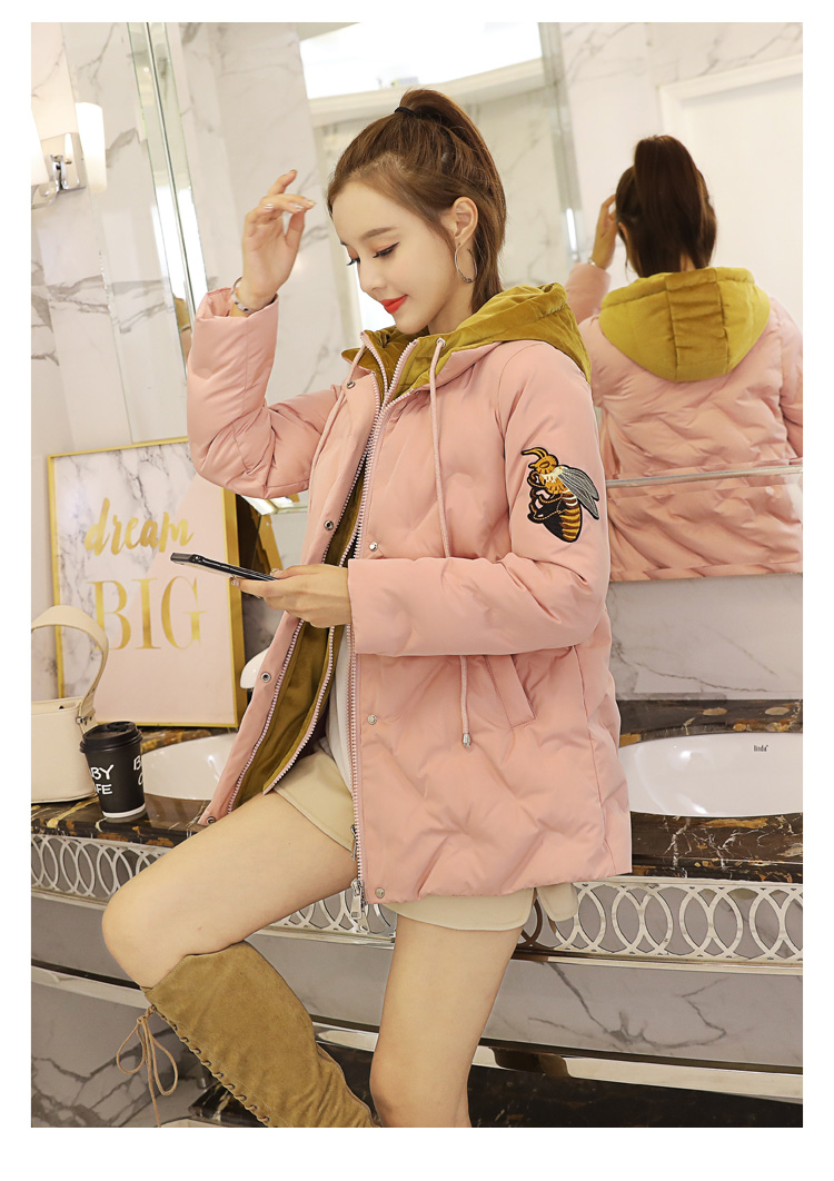 Deep degree 2019 autumn/winter clothing new large size women's autumn/winter fashion bee embroidered hooded cotton 2033 60 Online shopping Bangladesh