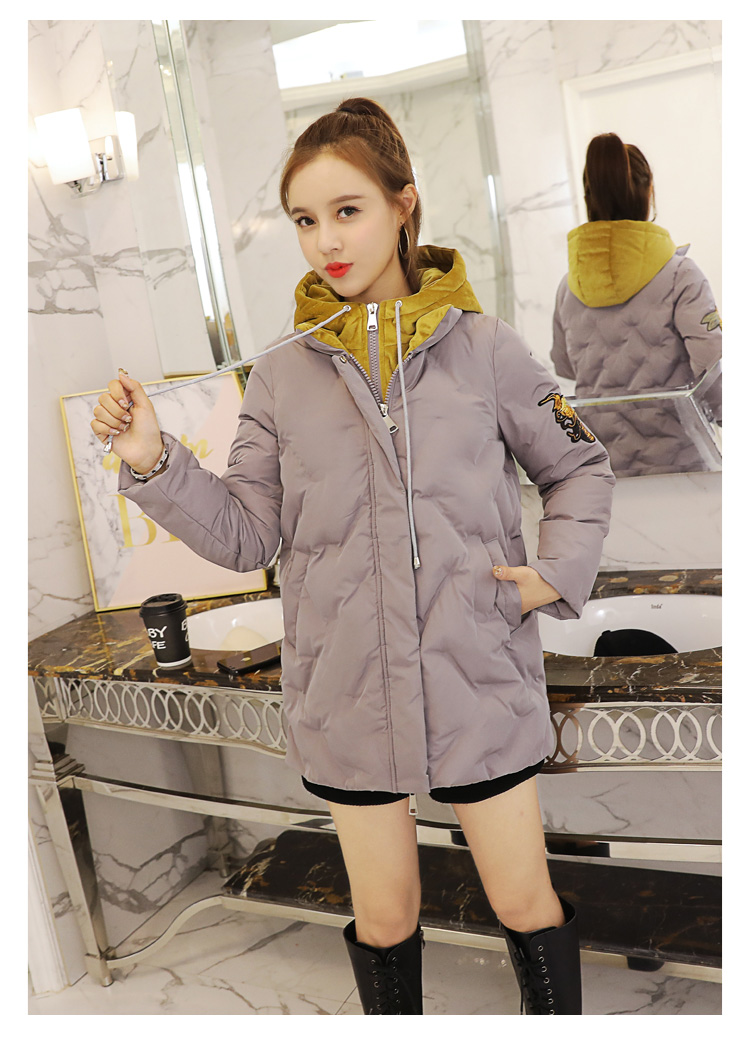 Deep degree 2019 autumn/winter clothing new large size women's autumn/winter fashion bee embroidered hooded cotton 2033 52 Online shopping Bangladesh
