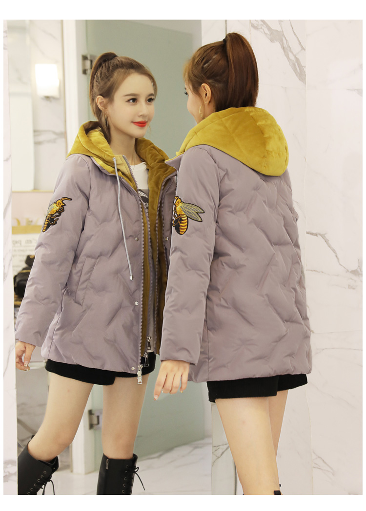 Deep degree 2019 autumn/winter clothing new large size women's autumn/winter fashion bee embroidered hooded cotton 2033 57 Online shopping Bangladesh