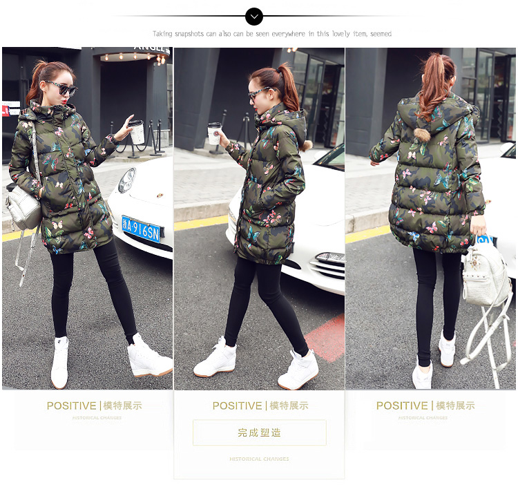 Deep degree of 2018 winter clothing new large size women's autumn and winter mid-length slim cotton clothing jacket 726 56 Online shopping Bangladesh