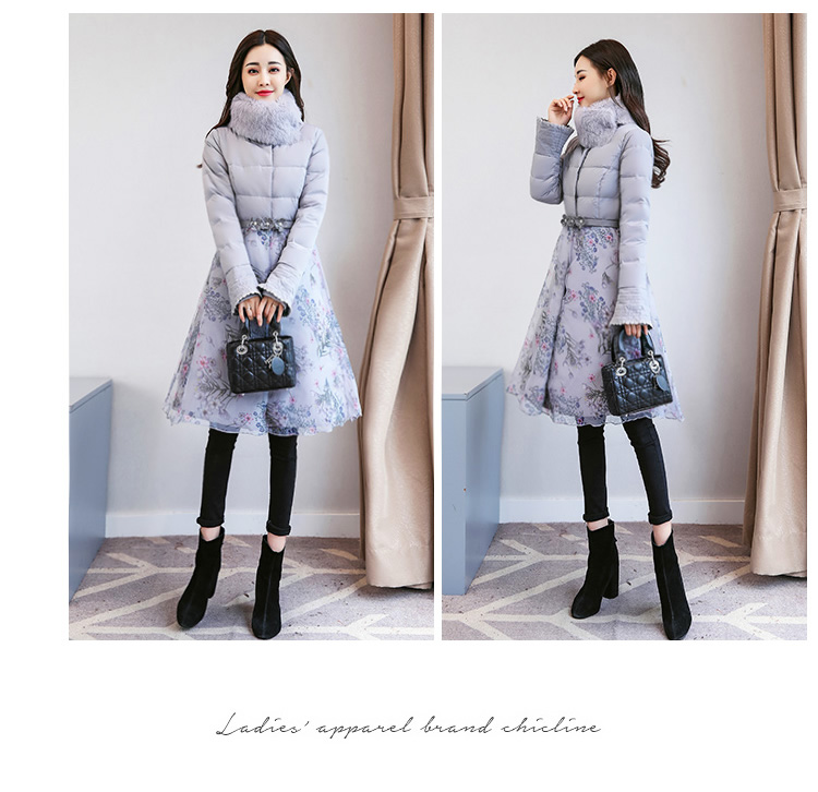 Deep degree of 2018 winter clothing new large size women's autumn and winter mid-length slim cotton clothing jacket 726 47 Online shopping Bangladesh