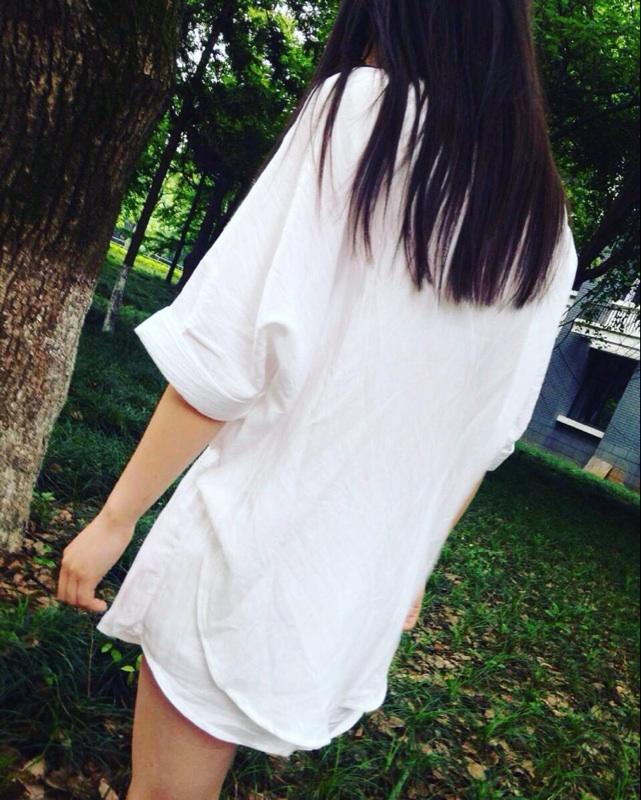 西西小可2016夏季宽松蝙蝠型上衣白色大码BF衬衫短裤时尚套装女