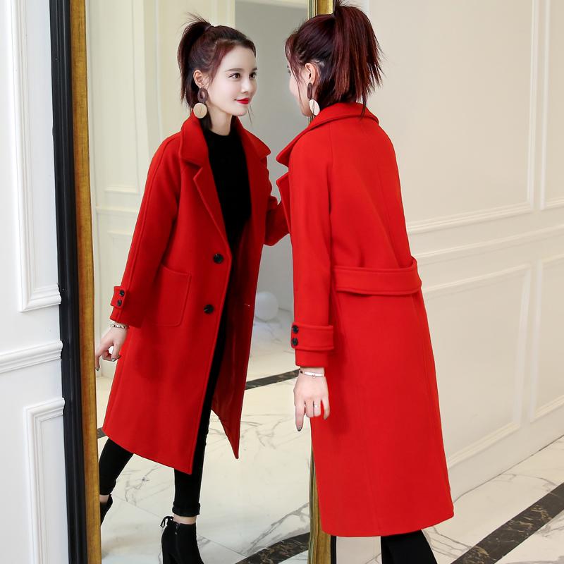 Шерстяные пиджак девочки длинная модель корейский плюс хлопка 2017 новый зимнее свободный тонкий осень и зима шерстяной пальто