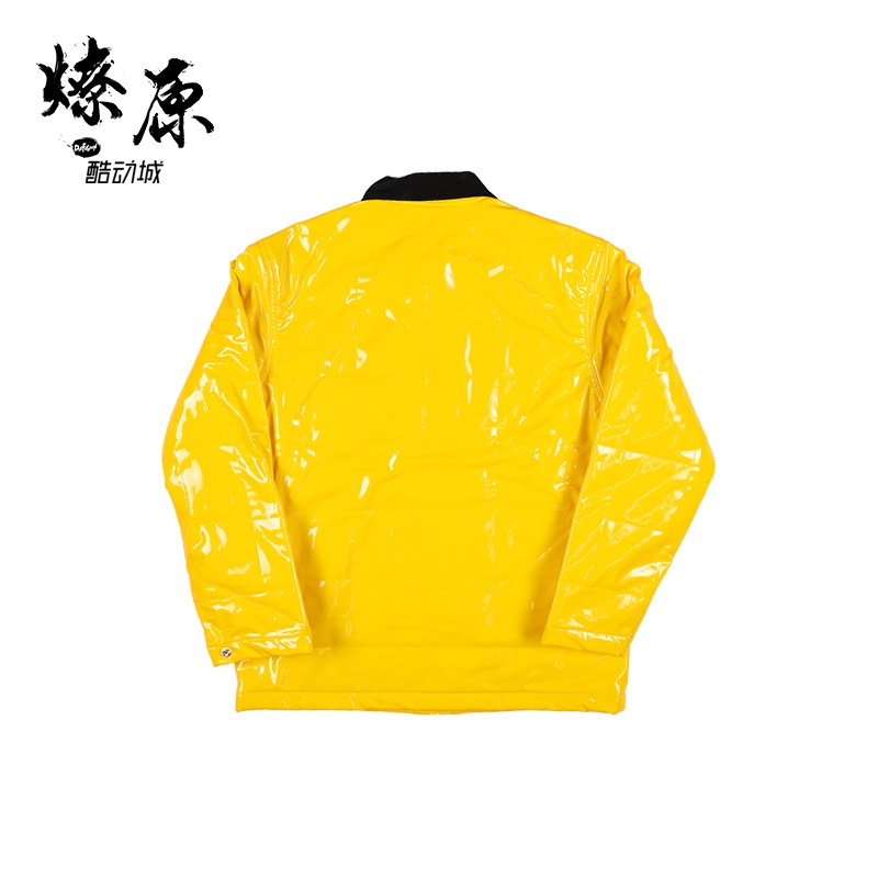 cheap for discount b7302 c0329 Supreme Quilted Patent Vinyl Work Jacket 18SS Solid Color Logo Jacket