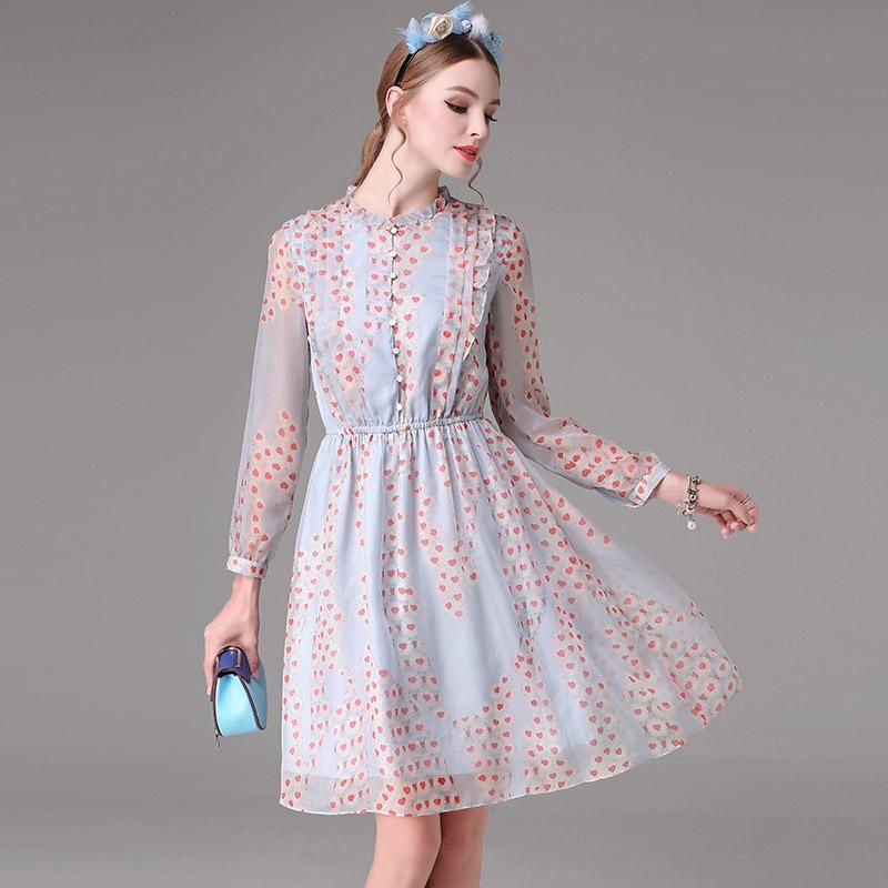 衬衫领大摆印花连衣裙收腰显瘦A字裙通勤OL春季中长款显瘦百褶裙