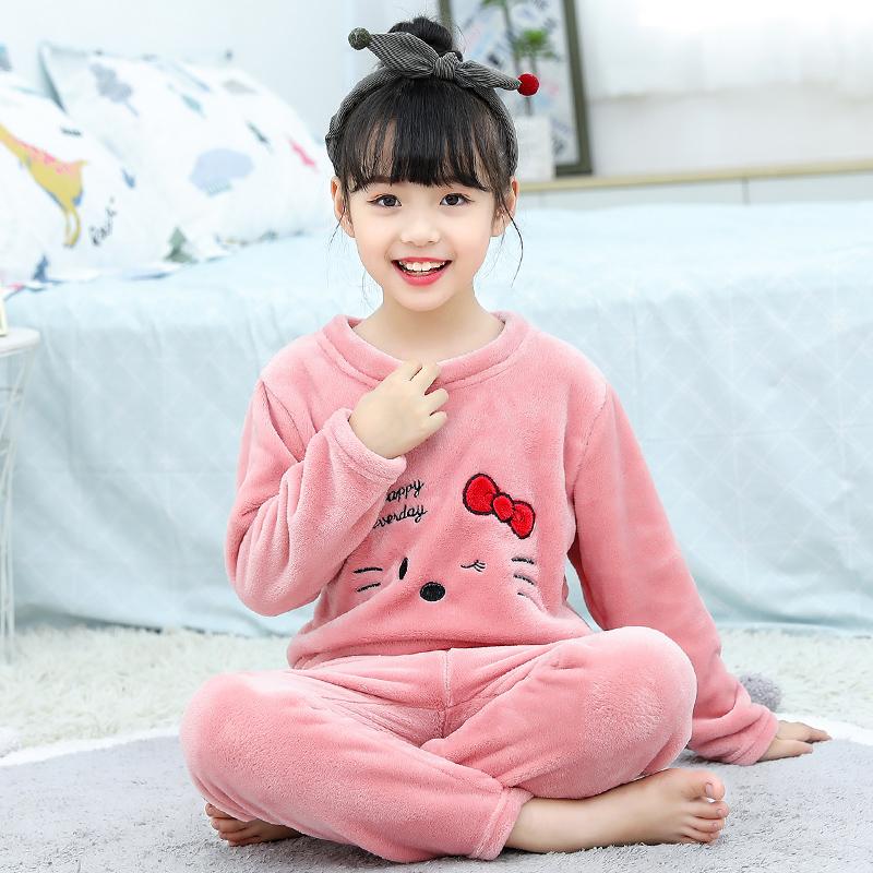 童装男童秋冬家居服季宝宝珊瑚绒女童儿童法兰绒小孩加厚睡衣套装