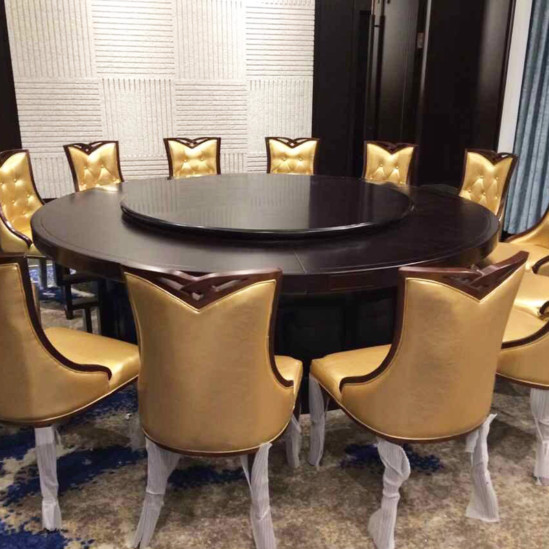 Merveilleux Hotel Electric Large Round Table Dining Table Solid Wood Chinese Restaurant  Table And Chair Combination 10 People With 20 People Rotating Banquet Table