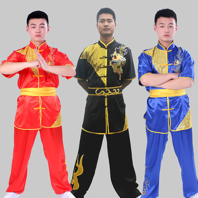 Martial Arts Clothes  Kungfu clothes Wushu Clothing Embroidery Dragon Wushu Performance Clothing Long Quan Competition Clothing Taijiquan Nanquan Kungfu Training Clothing Short Sleeves