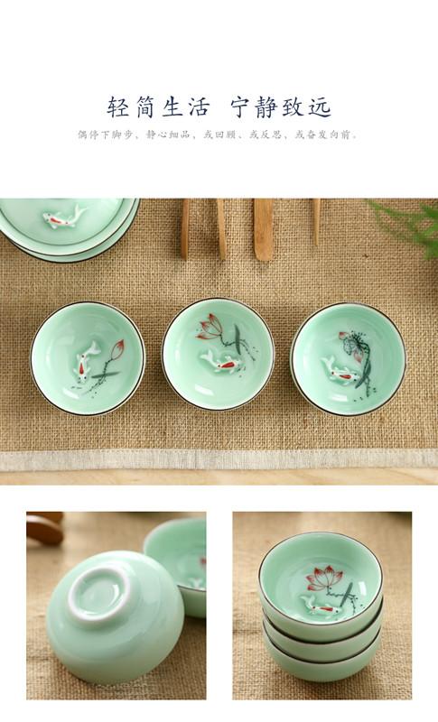 Kung fu tea set 6 individuals dedicated high - grade household, lovely small single glass ceramic bowl lotus tea