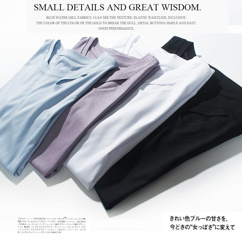 轻潮出街小心机短袖镂空高品质丝光棉圆领领口纯色T恤女夏季新
