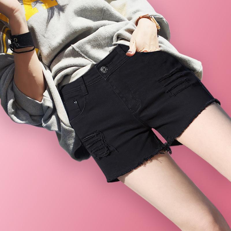牛仔短裤女夏2018新款韩版宽松学生百搭高腰破洞显瘦黑色牛仔裤