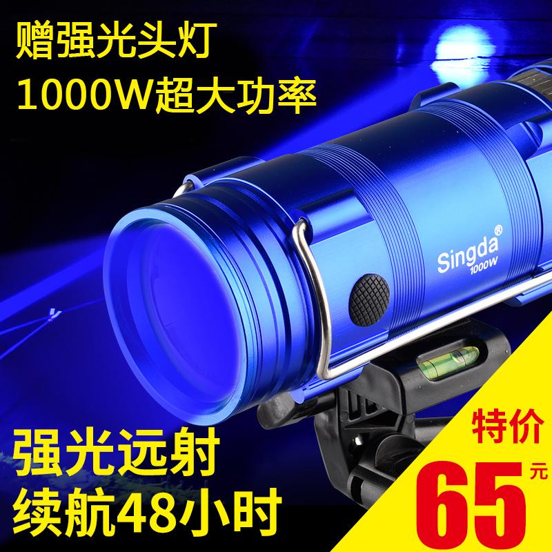 Blu-ray рыбалка серебристые рыба свет 1000W ultrabright яркий свет зарядка фонарик ксенон большой мощности фиолетовый рыбалка свет