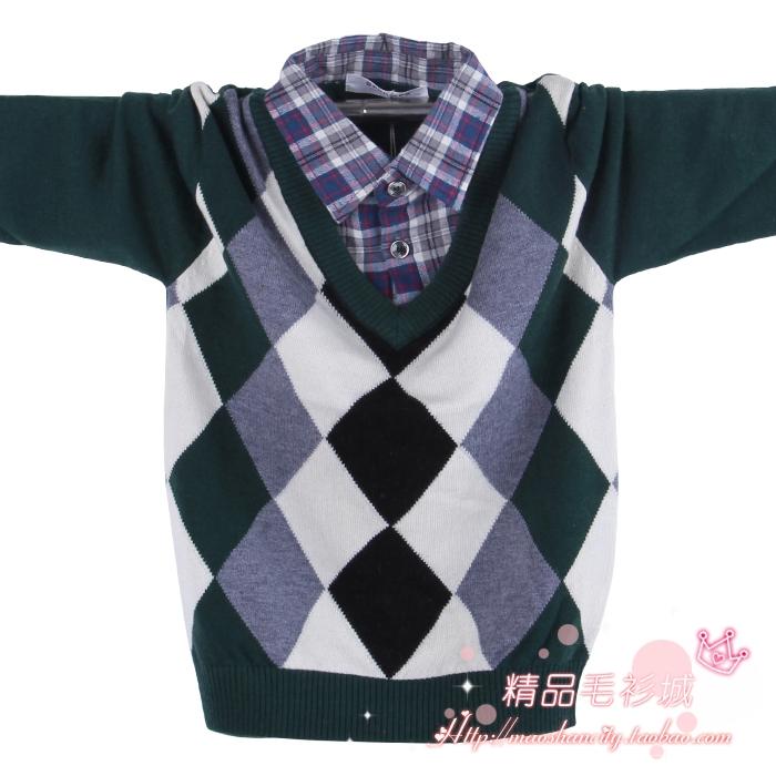断码韩版巴尔尼件套假2衬衫男童领薄款儿童/羊绒衫/羊毛衫毛衣