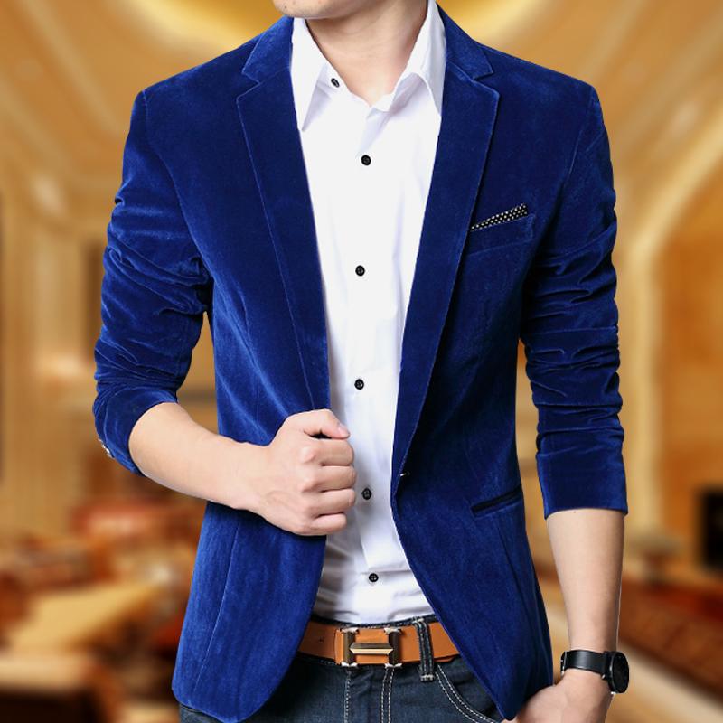 西装男士2019春季青年男装外套金丝绒修身韩版单西商务休闲小西服