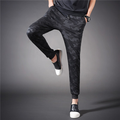 Men's large size summer men's feet pants feet harem pants youth camouflage casual pants thin loose students exercise