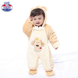 婴儿连体衣秋冬装加厚夹棉哈衣