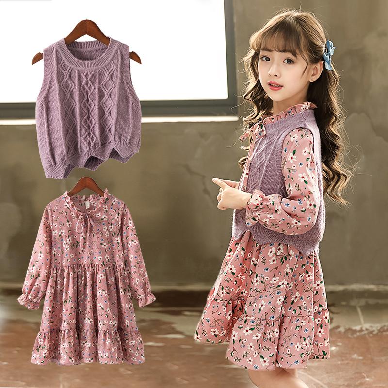На девочку Платье осень 2018 новая коллекция детские Иностранный газ два наборы 8-летняя девочка длинный рукав для маленькой принцессы Юбка 6