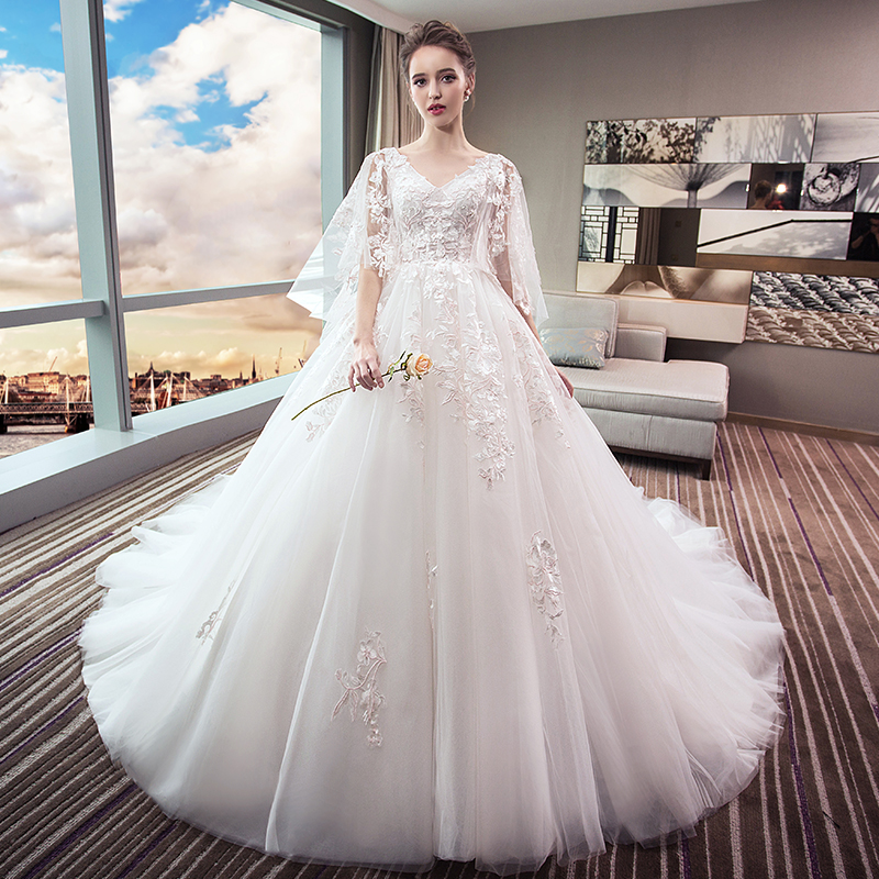 b3156634e7c ... Wedding 2018 new bride dress large size was thin tail Princess dream  pregnant women 200 pounds ...