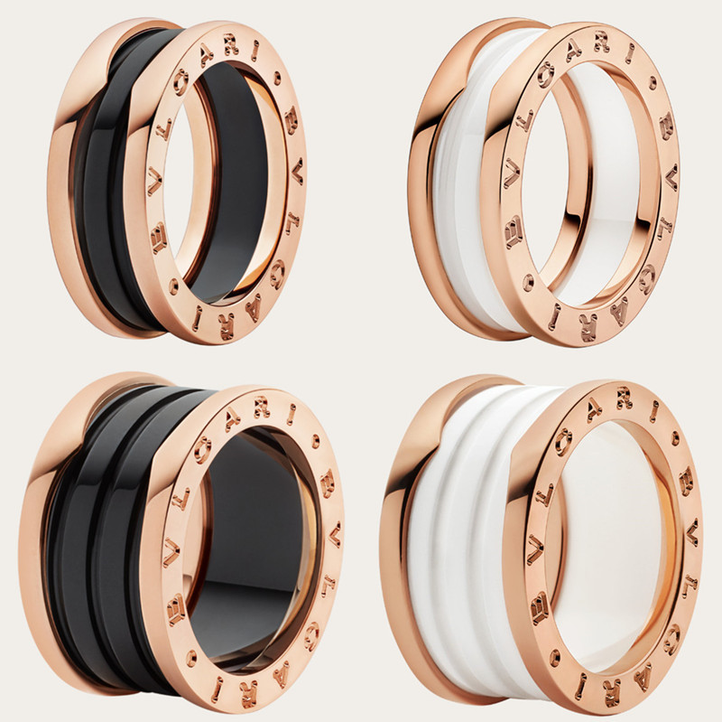Bvlgari B zero1 couple ring black and white ceramic 18K rose gold single and double ring