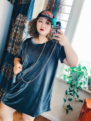 韩版大码女装短袖女2019新款200斤胖MM长款轻薄透气柔软宽松潮T恤