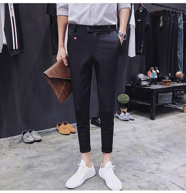 黑色主图2018男士西装裤修身休闲九分裤男A480-k12-p45控价78