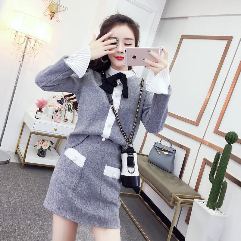 两件套装名媛小香风女2018秋冬新款加厚呢子衣+百搭包臀半身短裙