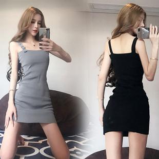 2018 летний костюм корейский моды новый дамы темперамент ремень низкий грудь тонкий вязание поддержка упаковать низ платье волна
