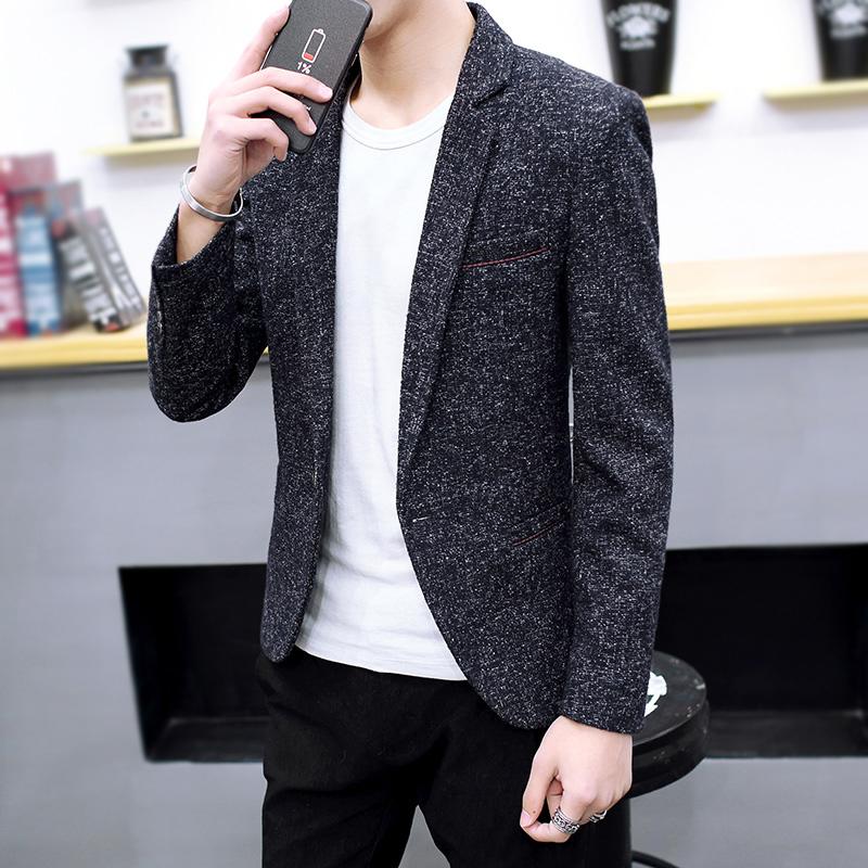 春秋季韩版男士休闲西装青年修身便装单件小西服上衣潮流帅气外套