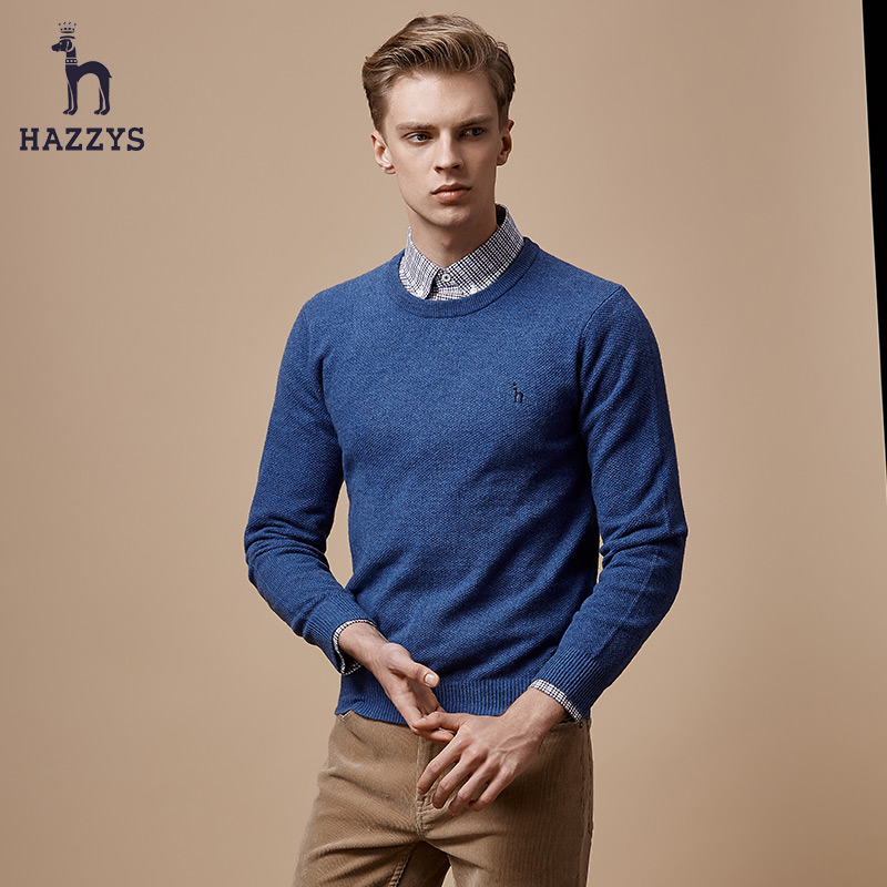 hazzys Haggis Korean men s sweater autumn and winter wool sweater long-sleeved  round neck slim sweater trend 7d48f8a3a
