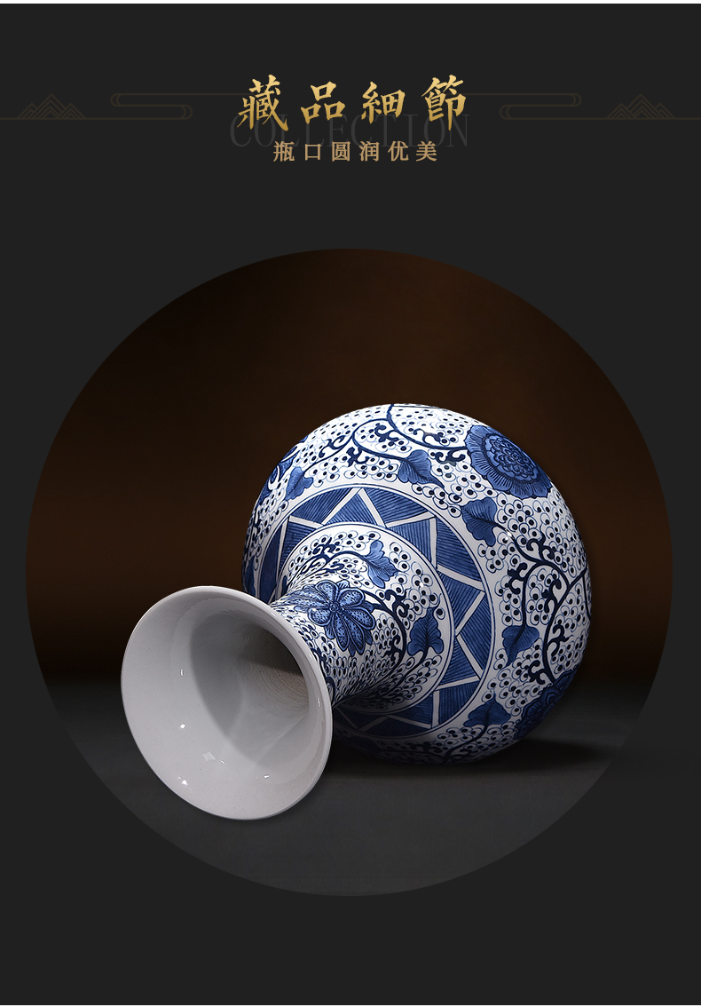 Jingdezhen ceramics hand - made porcelain vases, flower receptacle furnishing articles around branches of new Chinese style household living room decoration