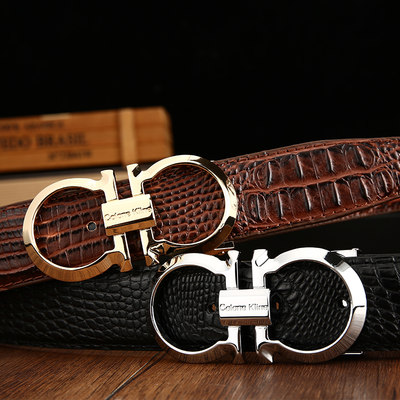 Spiritual society guy men's belt youth leather casual smooth buckle belt Korean version of the trend of crocodile pants belt