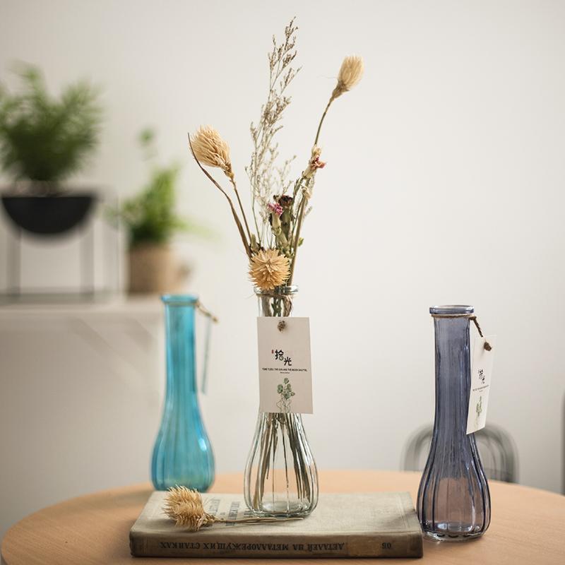 小口径圆形宜家v圆形花瓶细口小口水栽植物高长小号创意花瓶玻璃
