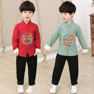 Children's Tang suit boys Hanfu costume Chinese style baby one-year-old dress boy cotton and linen suit long sleeve spring and autumn