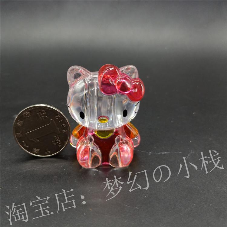 アニメ 日版  hellokitty 凱蒂貓  透明 小心心  坐姿 筆套 擺件 扭蛋