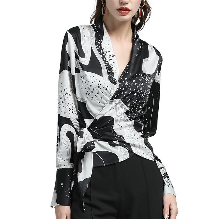 欧洲站花色衫女衬衫长袖上衣收腰显瘦v花色v领秋气质洋气雪纺小衫