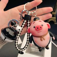 Мультфильм творческий свиной пердеть ключ с застежкой женщина корейский Симпатичный автомобиль ключ Подвесной колокольчик пакет пакет ключ Кольцо цепи