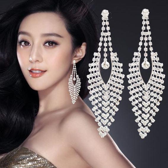 韩国时尚长款流苏夸张新娘水钻耳环耳坠耳钉 女无耳洞耳夹耳饰品