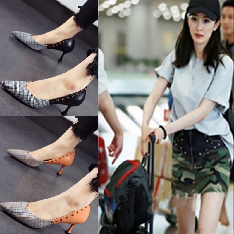 香港代购鞋子同款真皮细跟尖头拼色高跟鞋格子拼接明星中跟女单鞋