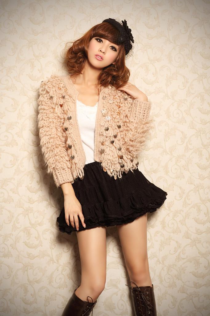 Hàn quốc phiên bản của mùa xuân và mùa thu nhỏ hương thơm vòng tròn áo len mohair handmade stick kim cardigan sequins áo len áo khoác khăn choàng