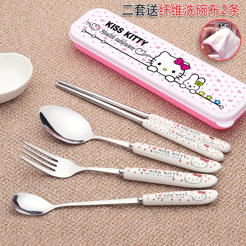 Children/'s small spoon stainless steel short handle baby cute portable spoon