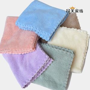 5条10条装珊瑚绒儿童花边小方巾洗脸毛巾
