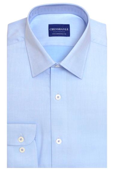 浅蓝色暗纹纯棉衬衫