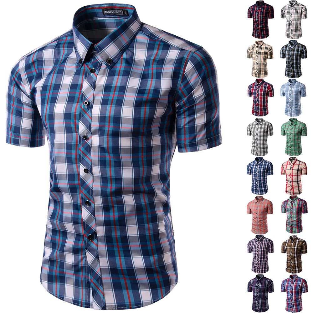 Mens slim fit button down contrast plaid short sleeve for Red and white plaid shirt mens