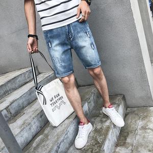 牛仔短裤男士夏季薄款五分裤男5分短裤夏天破洞中裤修身裤子