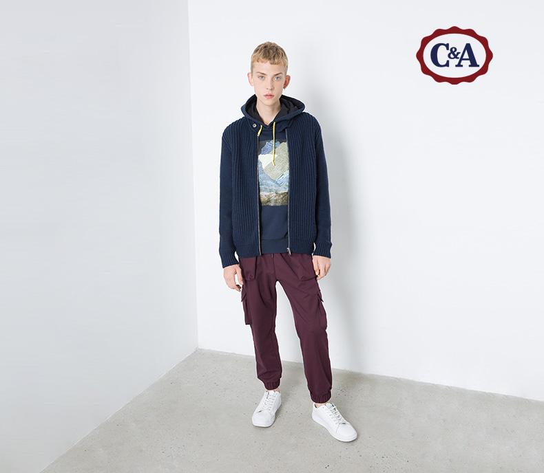 C & A nam khóa cổ áo đan áo len cardigan với len CA200184286