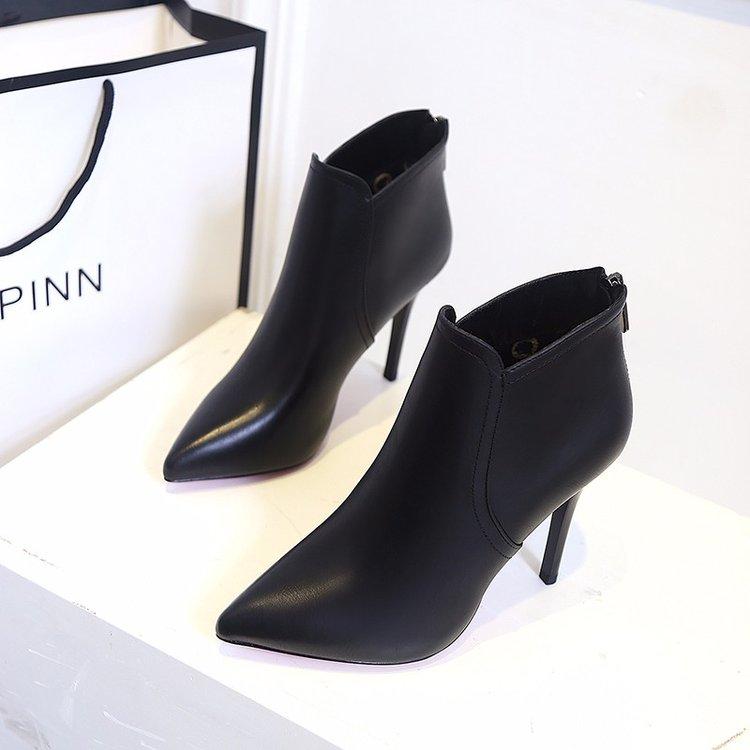 鞋子女2018新款高跟细跟女靴尖头短靴后拉链舒适马丁靴女鞋单靴