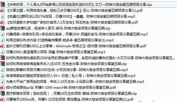 财神大咖会第五期录音资料(QQ群,微信,自媒体等快速赚钱项目)
