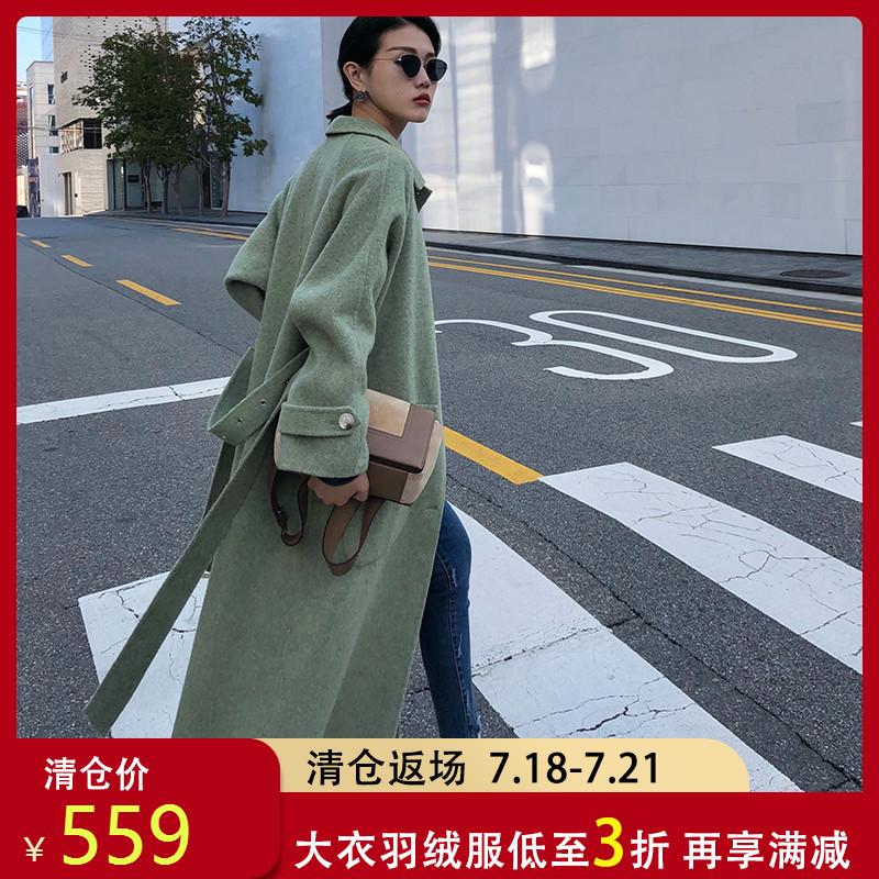 反季清仓阿尔巴卡大衣双面羊绒女绿色韩版中长款毛呢羊驼外套秋冬