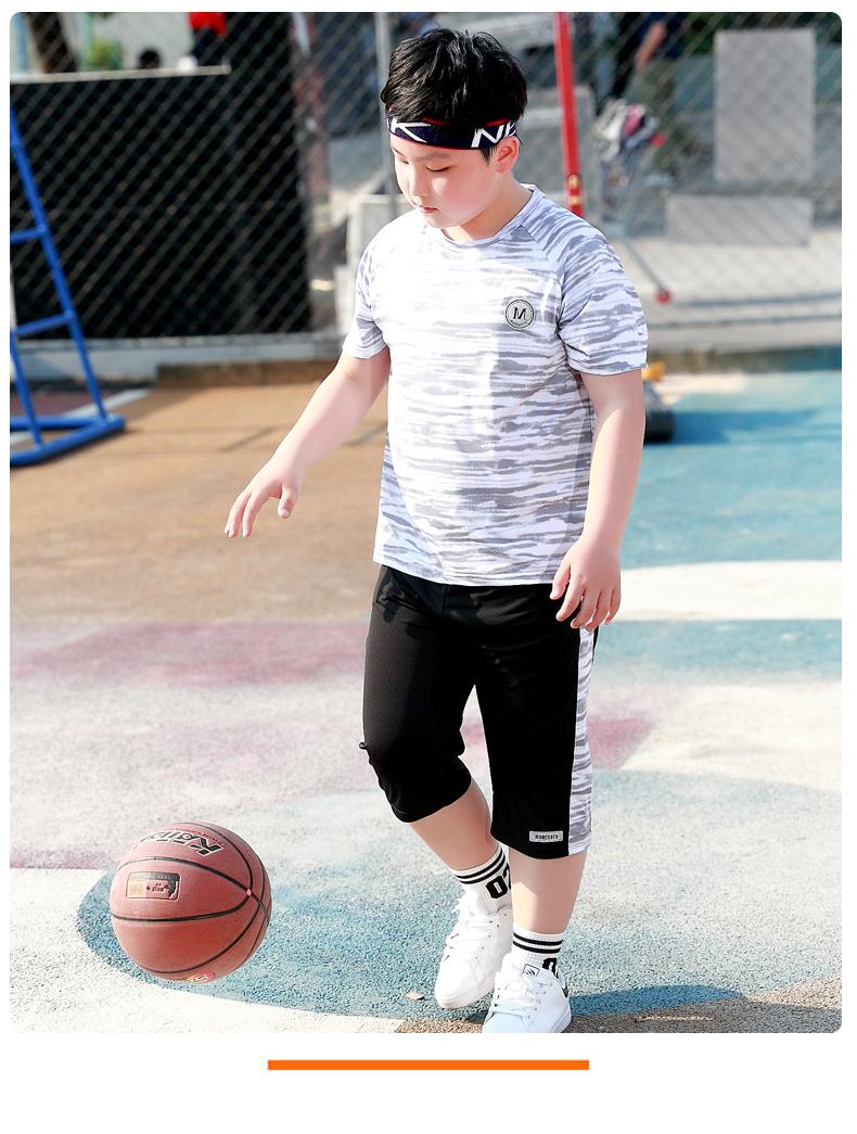 胖男童速干衣套装夏季中大童岁加肥加大运动球服儿童宽鬆短袖详细照片