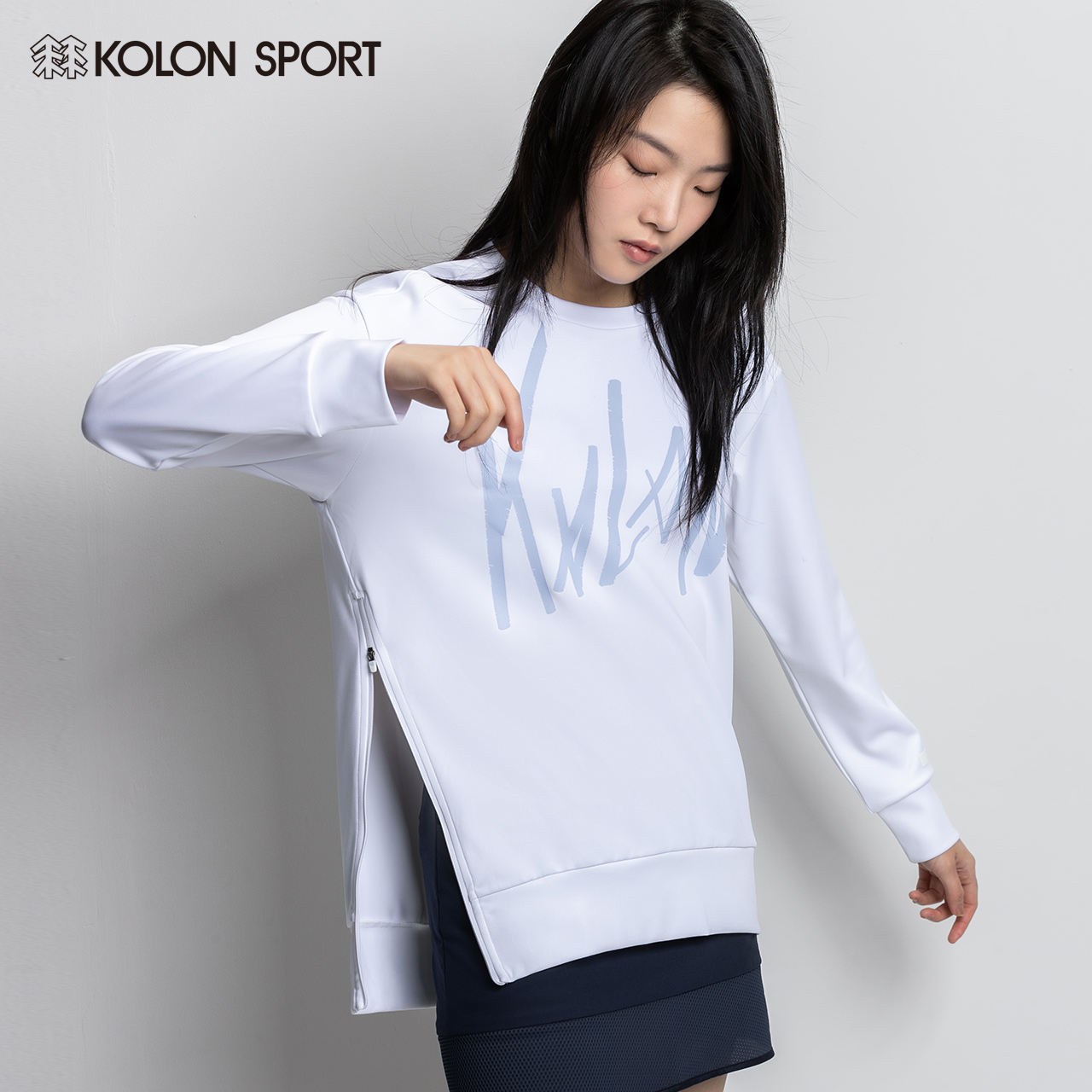 KOLONSPORT 隆 隆衣春 品 outdoor Korean casual round neck side zipper logo pullover